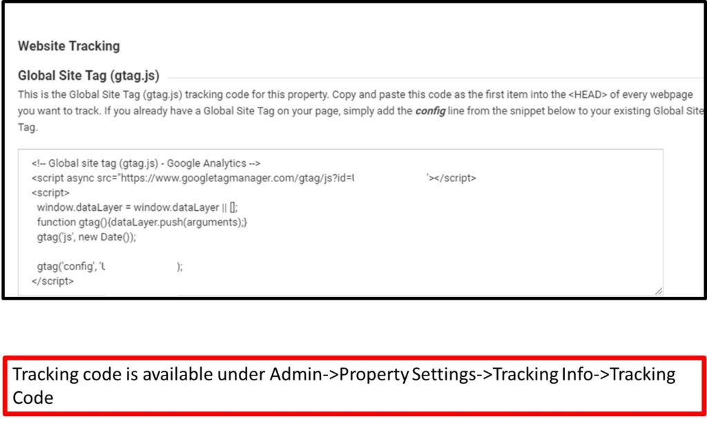 Google analytics tracking step 4: Get the tracking code